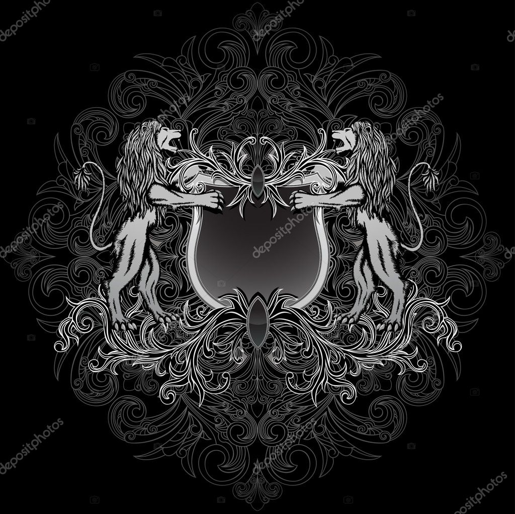 Gothic style coat of arms, on the floral background. — Stock Vector #5431755