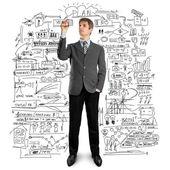 Podnikatel psát něco — Stock fotografie