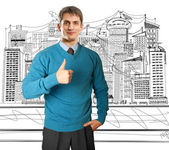 Man in blue shows well done — Stock Photo