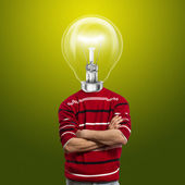 Male in red and lamp-head — Stock Photo