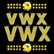 Wektor stockowy : Golden metall diamond letters and numbers big and small