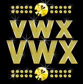 Gyllene metall diamond bokstäver och siffror, stora och små — Stockvektor