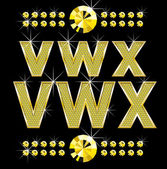 Zlaté metall diamond písmena a číslice, velké a malé — Stock vektor