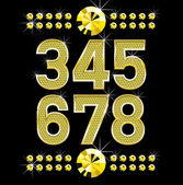 Golden metall diamond letters and numbers big and small — Stockvector