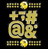 金色 metall 钻石字母和数字大与小 — 图库矢量图片