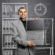 Businessmwith open laptop in his hands — Stockfoto #5469554