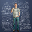 Full length man shows well done — Stock Photo