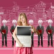 Stock Photo: Womand lamp head businesspeople with laptop