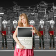 Stock Photo: Woman and lamp head businesspeople with laptop