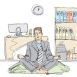 Businessman in lotus pose — Imagen vectorial