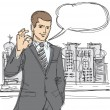 Royalty-Free Stock Immagine Vettoriale: Happy businessman shows OK sketch