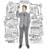 Uomo d'affari scrivendo qualcosa — Vettoriale Stock