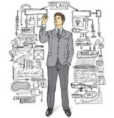 何かを書くの実業家 — ストックベクタ