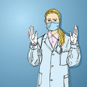 Arzt frau mit maske, blick in die kamera — Stockvektor