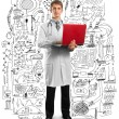 Doctor male in suit with laptop in his hands — Stock Photo #5536095