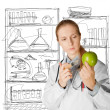 Stock Photo: Scientist woman with apple