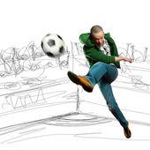 Jugador de fútbol asiático — Foto de Stock