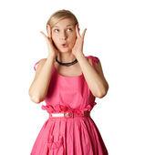 Surpris fille en rose — Photo