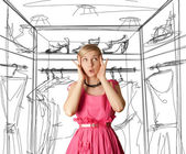 Surprised girl in pink — Stock Photo