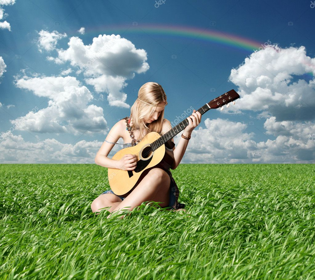 depositphotos 5536149 Hippie girl with the guitar outdoor hippie girl with the guitar on
