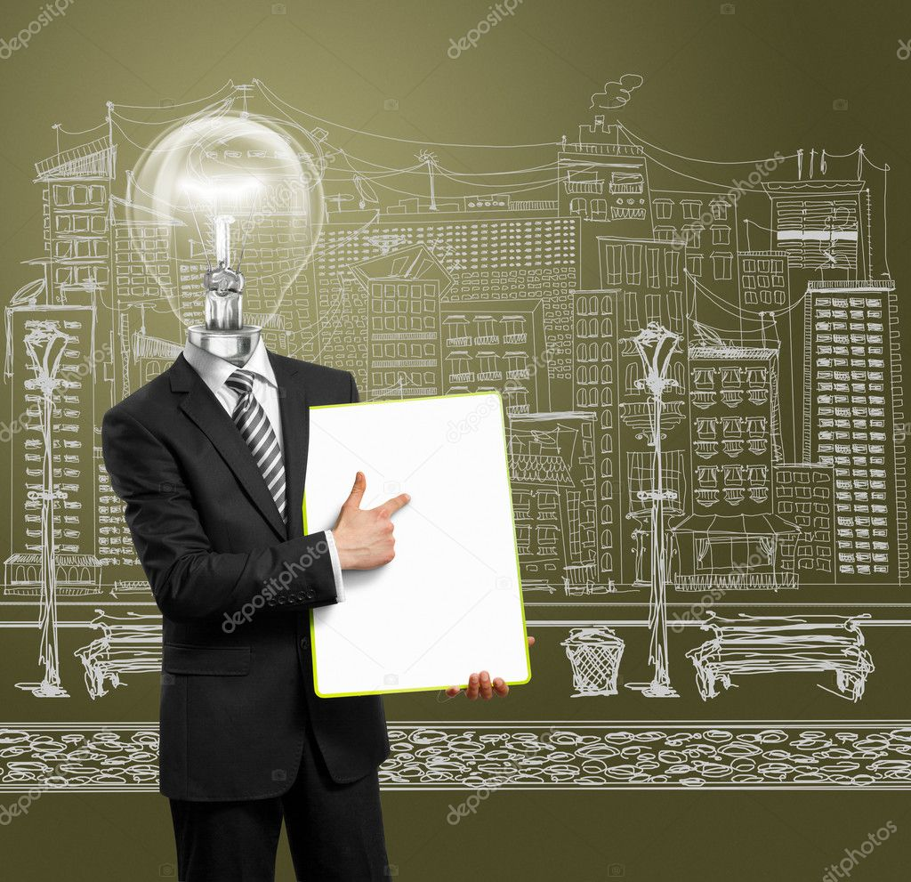 Lamp head businessman holding empty write board in his hands — Stock Photo #5536186