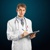 Mladý lékař muž s stetoskop — Stock fotografie