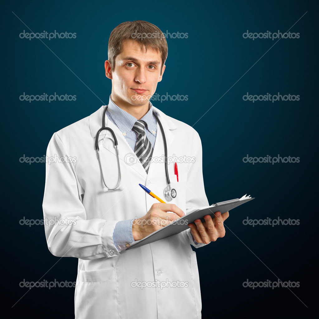 Young doctor man with stethoscope and clipboard against different backgrounds  Stock Photo #5581748