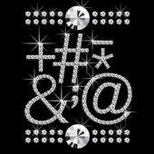 ダイヤモンドの宝石 08 と文字 — ストックベクタ