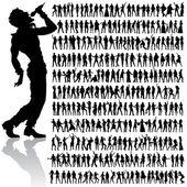 Tančí a zpívá velký soubor — Stock vektor