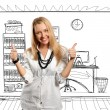 Young businesswoman shows well done — Stock Photo #5685526