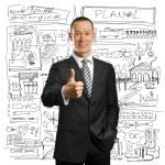 empresário asiático terno preto mostra bem feito — Foto Stock