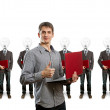 Lamp head businesspeople with laptop - Stock Photo