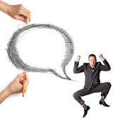 Human hands with speech bubble and man — Stock Photo