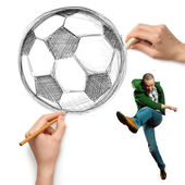 Ballon de football soccer esquisse et mâle — Photo