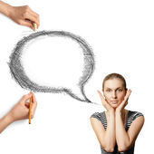 Human hands with speech bubble and woman — Stock Photo