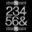 Thin metal diamond letters and numbers big and small — 图库矢量图片