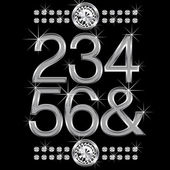Thin metal diamond letters and numbers big and small — Cтоковый вектор