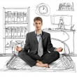 Stock Photo: Businessmin lotus pose