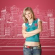 Young woman with folded hands — Stock Photo #5801501