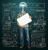 Uomo d'affari testa lampada con bordo di scrittura vuoto — Foto Stock