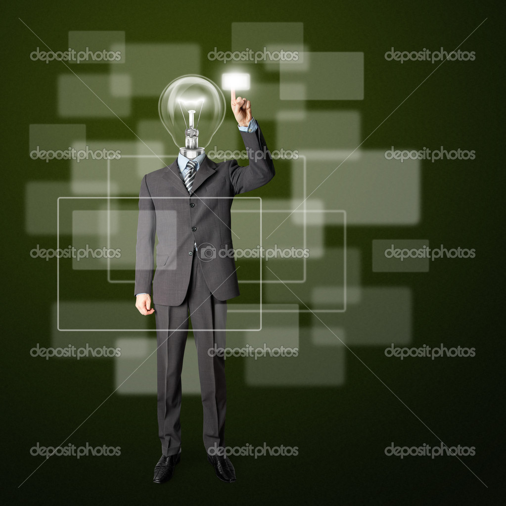 Full length businessman with lamp-head push the button on virtual touch pad — Stock Photo #5801359