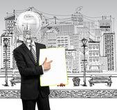 Lampe kopf geschäftsmann mit leeren schreiben board — Stockfoto