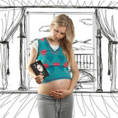 Tender pregnant female — Stock Photo