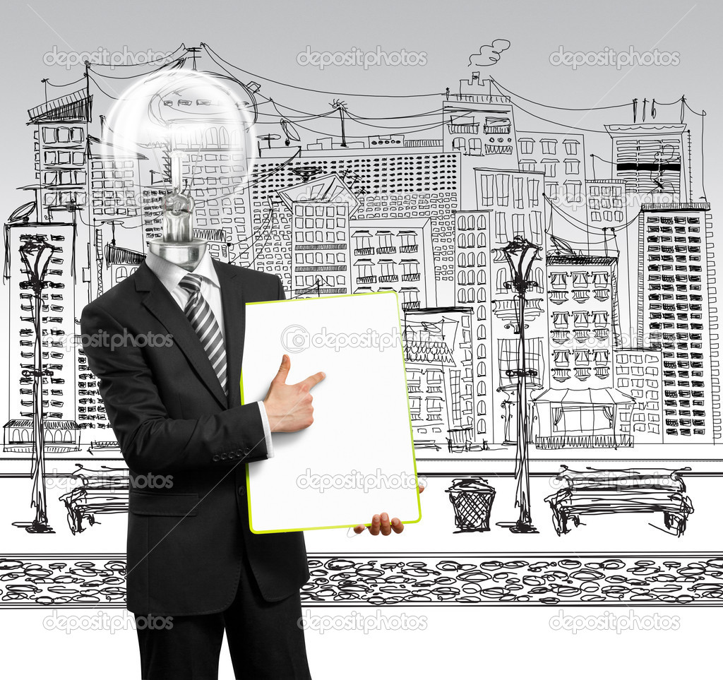 Lamp head businessman holding empty write board in his hands — Stock Photo #5851267