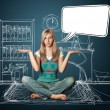 Foto de Stock  : Woman in lotus pose with speech bubble