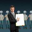 Lamp head businesspeople shows well done — Stock Photo #5901011