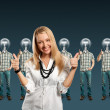 Stockfoto: Woman and lamp head businesspeople with laptop