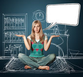 Woman in lotus pose with speech bubble — Stock Photo