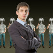 Lamp head businesspeople shows well done — Stock Photo #5962405