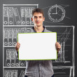 Male with write board in his hands — Stock Photo #5962444
